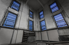 Alcatraz: Goodbye Blue Sky (Jessie Chaisson) Tags: blue sky white black texture abandoned jessie grit photography library grunge books prison alcatraz noise benches decaying chaisson