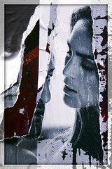 behind the paper curtain (PIKTORIO) Tags: wallpaper people woman cinema man berlin germany couple close glue ripped sheets torn layers gaze squared decollage lacerated piktorio