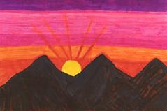 Sunrise Over The Cascades  By Sherrie D. Larch (sherrielarch) Tags: winter mountain sunrise wintertime mountshasta mountaindesign cascadesmountains sherrielarch orangepinkpurplebrown