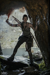 Lara Croft (AJ Charlton Photography) Tags: uk mountain snow mountains wales square aj photography march nikon mt cosplay tomb north lara croft bow flare snowdon d750 cave enix snowdonia ickle ajc charlton raider 2016