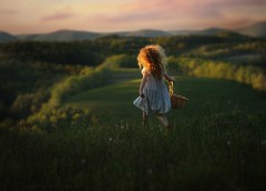 The Hills Are Alive (Sonya Adcock Photography) Tags: family flowers light sunset portrait sky sunlight mountains classic girl childhood composition hair photography evening kid nikon triangle picnic glow child basket dress pennsylvania feminine horizon fineart longhair running hills valley fields nikkor skipping curlyhair dandelions soundofmusic pickingflowers nikond700 nikkor105mmdc