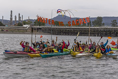 Small 800px v3 Water is Sacred solidarity fists during Indigenous Day Flotilla at Break Free PNW 2016 Photo taken by John Duffy 27104326405_6a76a3d058_c (Backbone Campaign) Tags: water justice washington energy kayak break action politics protest creative paddle shell free social demonstration oil change wa environment activism anacortes campaign pnw refinery climatechange climate tesoro artful backbone renewable refineries 2016 kayaktivist kayaktivism breakfreepnw