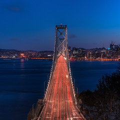 Oakland Bay Bridge (iamahaque) Tags: sanfrancisco california bridge sunset oakland dusk baybridge bayarea