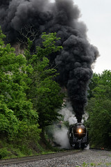 611 Cresting the Hill (zimwizdotcom) Tags: railroad virginia smoke trainengine coal steamengine steamtrain 611 d800 bline norfolkandwestern norfolksouthern 484 passengertrain steamspecial railfans nwj nw611 nikond800 powhatanarrow fireup611