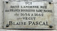 Blaise Pascal plaque - 54 rue de Monsieur le Prince, Paris 6th arr (Monceau) Tags: paris pascal 6tharr blaisepascal 54ruemonsieurleprince
