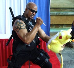 Blade Reacts to Pokemon Go! (MorpheusBlade) Tags: bladetheseries bladehouseofchthon bladethevampirekiller daywalker cosplay comicon baltimorecomicon