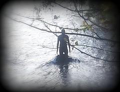 Antony Gormley was Here (nearthecastle) Tags: uk sculpture statue scotland edinburgh stockbridge picnik gormley antonygormley waterofleith gormleystatue antonygormleystatue thedailypost
