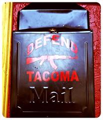 Tacoma mail box (Vorona Photography) Tags: seattle usa kitchen rock mailbox america washington punk downtown industrial state pacific live united rifle goth ak assault nightclub entertainment bands weapon violence rockabilly americana guns nightlife tacoma states avenue ak47 hells kalashnikov