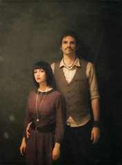 1930s portrait (leslie.june) Tags: selfportrait 1930s couple fuzzy textures faded historical classical vest mustache hazy classy steampunk fscottfitzgerald locket 1930scouple timeperiod lolitadress lesliejunephotography matronlydress