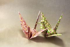Origami crane (flaminghead Park) Tags: japan closeup paper creativity photography tokyo origami decorative nopeople indoors papercrane japaneseculture skill twoobjects intricacy floralpattern artandcraft colorimage signsandsymbols animalrepresentation