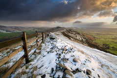 The Great Ridge in Winter (Paul Newcombe) Tags: uk morning winter england snow storm cold tourism ice wall clouds sunrise fence walking landscape countryside early nationalpark december hiking derbyshire peakdistrict wideangle stormy hills freeze british peaks tamron goldenhour winhill edalevalley mamtor hopevalley 1024 sidelit losehill sidelight greatridge britnatparks