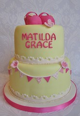2 tier christening cake mrs bakers cakes (Mrs Baker's Cakes) Tags: christeningcake 2tierchristeningcake shabbychiccake mrsbakerscakes buntingcake