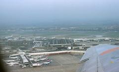 London Heathrow Airport aerial view 1984 (WlNGS) Tags: uk london plane airplane airport aerialview aeroporto terminal aeroplane ba boeing flughafen flugzeug aeroport aeropuerto runway panam boeing747 radar airliner avion trident aroport boeing737 londonheathrowairport
