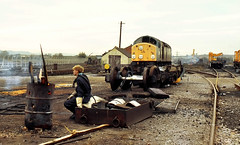 Pause for Thought (Kingmoor Klickr) Tags: swindon works class40 40037 railblue conyard scrapman brelswindon