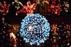 Blue Bokeh (z3ro1) Tags: bokeh christmaslights logansquare chicagoist christmasbokeh christmaslightshouseonloganblvd logansquarechristmashouse