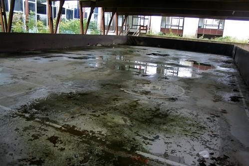 Hockey markings on the ice rink slab