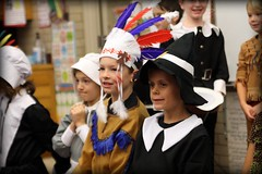 Thanksgiving Play (fivehanks) Tags: thanksgiving school costumes boys public play indian nativeamerican learning second secondgrade pilgrim thanksgivingplay