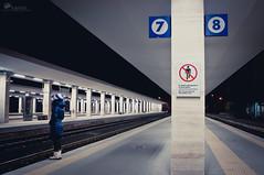 Do not go beyond the yellow line (Rob McFrey) Tags: sardegna italy station night train nikon italia sardinia railway terminal rob roberto nikkor nano f4 notte cagliari vr notturno d90 24120 mcfrey defraia nikkor24120mmf4gedvr