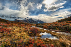Patagonia Alive (Stuck in Customs) Tags: travel wild panorama patagonia snow mountains cold reflection water argentina argentine field weather clouds digital america river outdoors photography march blog high bravo stream republic dynamic stuck natural hiking south scenic hike foliage growth photoblog valley software processing andes imaging alive wilderness icy shrub frigid range 2009 brilliant hdr rolling repblica tutorial fiery travelblog customs argentino snowcappedmountains snowcaps hdrtutorial stuckincustoms photographyblog stuckincustomscom nikond3x