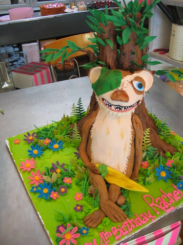 3D Buck Ice Age character shaped cake covered in fondant icing