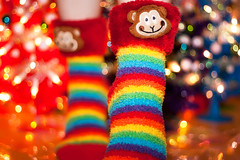 Day 31 of 365 - Year 3 (wisely-chosen) Tags: selfportrait me socks lights monkey rainbow december bokeh canon50mmf18 2011 365days canonspeedlite430exii adobephotoshopcs5extended