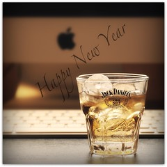 Happy New Year  (Samantha Nicol Art Photography) Tags: new old art ice apple glass square jack happy golden keyboard dof bokeh no year 7 whiskey monitor daniels samantha sour mash nicol imack
