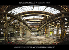 Sulzer Areal - Winterthur (Kuster & Wildhaber Photography) Tags: architecture switzerland space fabrik parking details symmetry fabric area areal parkplatz halle topaz winterthur sulzer symmetrie ldr fabrikgelnde vertorama multirowpanorama