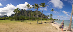 Kualoa Regional Park, O'ahu, Hawai'i (panorama) (Yaisog Bonegnasher) Tags: ocean trees girls sky mountains green water grass clouds palms hawaii julia oahu kualoa kualoaregionalpark