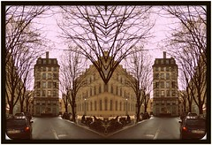 Should I Go Left Or Right? (Edgar Chambon 94) Tags: street camera trees shadow sky france cars colors composition contrast photoshop buildings dark outside photography mirror flickr emotion lyon or sony go shapes award cybershot right line creation 94 edgar frame symetry shape left should 1960 appartments chambon i