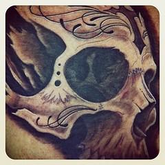Tonight's tattoo finished! #visualvortex #scottwhite #skull #tattoo #alteredstatetattoo #cross #filegry