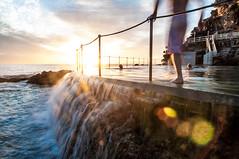 Morning Rituals (sebr) Tags: ocean light sun beach water pool clouds swim sunrise lensflare swimmer bronte oceanpool