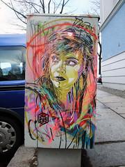 C215 - Berlin 2012 (Antonia Schulz) Tags: street city urban woman streetart berlin art girl face germany deutschland graffiti stencil gesicht arte box kunst strasse cit urbanart sidewalk stadt urbana rue farbe figur 2012 kasten urbain pochoir schablone strase berlinstreetart c215 ffentlicherraum