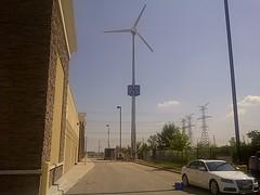 Wind turbine at Milton, Ontario Walmart (Walmart Corporate) Tags: ontario green retail energy wind walmart business milton spark turbine windturbine wal mart windpower renewableenergy greendesign walmartcanada greentechnology supercentere