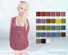 -[AddiCt]-LUCILLE Sweaterdress-Seaon's Gatcha! (Kianna Noel) Tags: winter fashion 3d sweater avatar sl secondlife luck kari prize gamble rare addict gacha kiannanoel lelutka exposeur seasonshunt seasonsgatcha