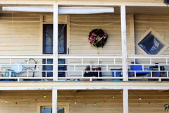 Porch on New Street (ScribeGirl) Tags: christmas door house window canon lights chair northcarolina wreath porch railing newbern diamondshape t1i