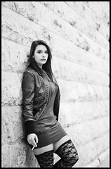 (Shutter_Inc.) Tags: street blackandwhite bw woman white black sexy girl leather stone wall female austin naughty outside outdoors model nikon downtown texas dress boots modeling cigarette smoke dirty georgetown smoking jacket colton femalemodel stark leggings womanmodel d80 girlmodel nikond80 starkphotography coltonstark
