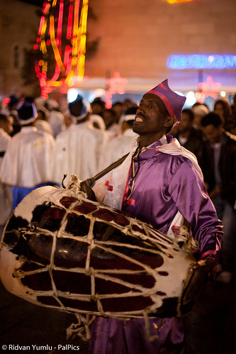 Coptic Christians from Eritrea and Ethiopia, Orthodox Christmas Celebration at the Church of the Nativity, West Bank town of Bethlehem January 6, 2012