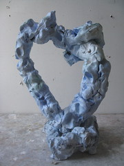 Heart's  Portal to Nature (Plant Design Online) Tags: blue sculpture art ceramics clay portal