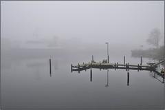 from here to nowhere (liebeslakritze) Tags: mist fog grey ship nebel harbour grau balticsea hafen ostsee schiff kiel landingstage