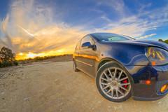 Dusky (sabroso10) Tags: road sunset sky vw clouds volkswagen lens nikon offroad dusk wheels stock fisheye fender gti rims rd gravel vdub 105mm d90