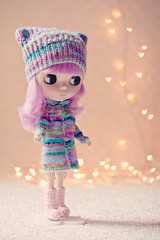 Winter wonderland (ZedBee | Zo Power) Tags: cute doll pretty heart bokeh pastel woollyhat blythe stripey knitted takara bokehlicious megipupu simplylilac bokehmasterskit