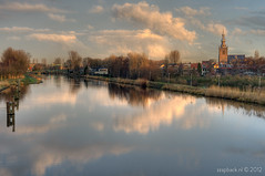 In search of the Dutch Masters / Sunrise / Overschie / Rotterdam (zzapback) Tags: old bridge holland classic church netherlands dutch clouds vintage reflections river painting landscape photography 50