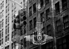 Double Exposure (Violet Kashi) Tags: camera city windows light bw woman newyork classic rolleiflex vintage buildings friend traffic ira