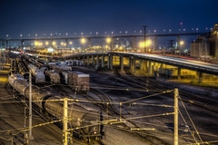 SD Rail Yard (Justin in SD) Tags: blue eastvillage night port train truck canon downtown track sandiego gaslamp boxcar bluehour shipping railyard traintrack hdr dole oilcar shippingyard cornadobridge shippingport canon60d