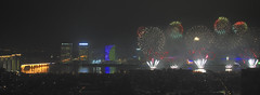 Fireworks_HXT6414 (ohmytrip) Tags: guangzhou city night togetherness cityscape waterfront bright ceremony chinesenewyear firework multicolored futuristic guangdongprovince pearlriver newlife exploding chineseculture fireworkdisplay highangleview artscultureandentertainment gettyimageschinaq12012