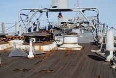USS Iowa fore deck antenna mount (wbaiv) Tags: sky texture last port river outdoors bay us rust san francisco iron open steel navy fast surface iowa richmond oxidation sacramento battleship fleet uss corrosion ussiowa mothball bb61