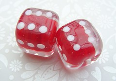 Lucky Six (Glittering Prize - Trudi) Tags: uk red white dice glass square beads handmade casino lucky six lampwork artisan sra gbuk fhfteam britlamp