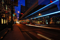 Winter Morning At The Mag Mile (Seth Oliver Photographic Art) Tags: chicago buildings iso200 illinois nikon midwest cities cityscapes lighttrails michiganavenue pinoy johnhancockbuilding urbanscapes magnificentmile lightstreaks longexposures chicagoist circularpolarizerfilter innofchicago d40 6secondexposure apertureprioritymode setholiver1 aperturef180 tripodmountedshot 1024mmtamronuwalens timedelaytriggeredshot bluehourinthemorning vrmodeoff