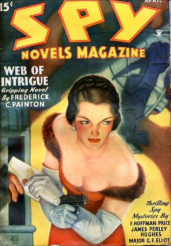 065 Spy Novels Magazine Apr-1935 Cover by D. S. - Includes The Devil's Catspaw by E. Hoffmann Price