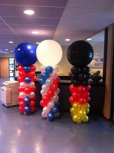 Ballonpilaar Breed Open Dag Ring van Putten Engelse, Franse en Duitse Vlag